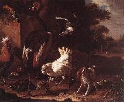 HONDECOETER, Melchior d Birds and a Spaniel in a Garden sf oil painting artist