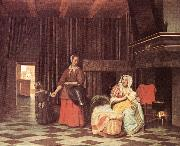 HOOCH, Pieter de Suckling Mother and Maid s oil painting picture wholesale