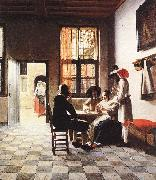 HOOCH, Pieter de Cardplayers in a Sunlit Room sg oil painting picture wholesale