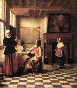 HOOCH, Pieter de A Woman Drinking with Two Men s oil painting picture wholesale