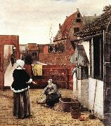 HOOCH, Pieter de Woman and Maid in a Courtyard st oil painting picture wholesale