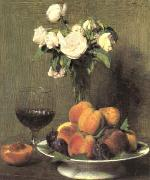 Henri Fantin-Latour Still Life with Roses and Wine  6 oil painting picture wholesale