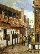 Jacobus Vrel Street Scene with Six Figures oil painting picture wholesale