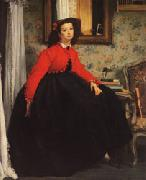 James Tissot Portrait of Mlle.L.L(or Young Girl in Red Jacket) oil painting picture wholesale