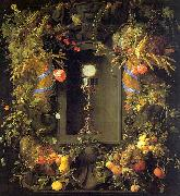 Jan Davidz de Heem Eucharist in a Fruit Wreath oil painting artist