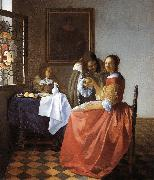 Jan Vermeer A Lady and Two Gentlemen oil painting picture wholesale