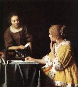 Jan Vermeer Lady with Her Maidservant Holding a Letter oil painting picture wholesale