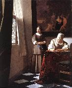 Jan Vermeer Lady Writing a Letter with Her Maid oil painting picture wholesale