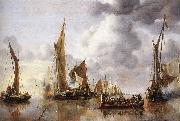Jan van de Capelle The State Barge Saluted by the Home Fleet oil painting artist