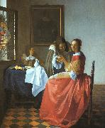 JanVermeer A Lady and Two Gentlemen oil painting artist