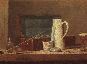 Jean Baptiste Simeon Chardin Pipes and Drinking Pitcher oil painting artist
