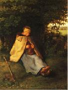 Jean Francois Millet Woman Knitting oil painting artist