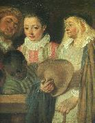 Jean-Antoine Watteau Actors from a French Theatre (Detail) oil painting picture wholesale