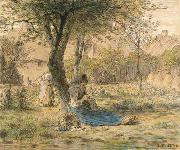 Jean-Franc Millet In the garden oil painting picture wholesale