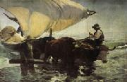 Joaquin Sorolla Y Bastida Return from Fishing Towing the Bark oil painting artist