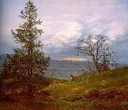 Johan Christian Dahl Evening Landscape with Shepherd oil painting artist