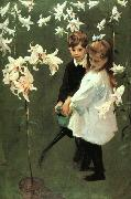 John Singer Sargent Garden Study of the Vickers Children oil painting