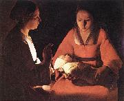 LA TOUR, Georges de The New-born (detail) saf oil painting picture wholesale