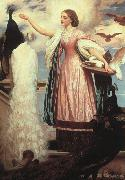 Lord Frederic Leighton A Girl Feeding a Peacock oil painting picture wholesale