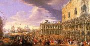Luca Carlevaris Entry of the Earl of Manchester into the Doge's Palace oil painting artist