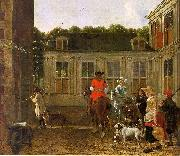 Ludolf de Jongh Hunting Party in the Courtyard of a Country House oil painting picture wholesale