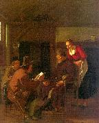 Ludolf de Jongh Messenger Reading to a Group in a Tavern oil painting picture wholesale