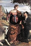 MORETTO da Brescia St Justina with the Unicorn sg oil painting artist