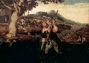MOSTAERT, Jan Hilly River Landscape with St Christopher g oil painting picture wholesale