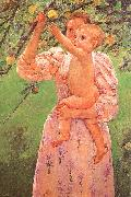 Mary Cassatt Baby Reaching for an Apple oil painting reproduction