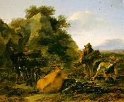 Nicholaes Berchem Landscape with Herdsmen Gathering Sticks Spain oil painting reproduction