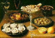 Osias Beert Still Life with Oysters and Pastries Spain oil painting reproduction
