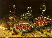 Osias Beert Still Life with Cherries Strawberries in China Bowls Spain oil painting reproduction