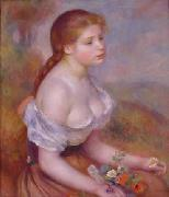 Pierre Renoir Young Girl With Daisies oil painting picture wholesale