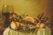 Pieter Claesz Breakfast with Ham oil painting artist