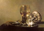 Pieter Claesz Still Life with Wine Glass and Silver Bowl oil painting artist