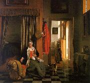 Pieter de Hooch Mother Lacing her Bodice Beside a Cradle oil painting picture wholesale