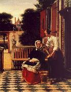 Pieter de Hooch Woman and a Maid with a Pail in a Courtyard oil painting picture wholesale