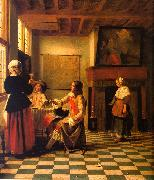 Pieter de Hooch Woman Drinking with Two Men and a Maidservant oil painting picture wholesale