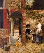 Pieter de Hooch Courtyard with an Arbor and Drinkers oil painting picture wholesale