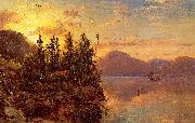 Regis-Francois Gignoux  Lake George at Sunset 1862 oil painting picture wholesale