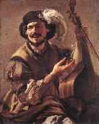 TERBRUGGHEN, Hendrick A Laughing Bravo with a Bass Viol and a Glass  at oil painting picture wholesale