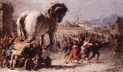 TIEPOLO, Giovanni Domenico The Procession of the Trojan Horse in Troy e oil painting picture wholesale