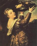 TIZIANO Vecellio Girl with a Basket of Fruits (Lavinia) r oil painting picture wholesale