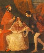 TIZIANO Vecellio Pope Paul III with his Nephews Alessandro and Ottavio Farnese ar oil painting picture wholesale