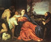 TIZIANO Vecellio Holy Family and Donor t oil painting picture wholesale
