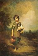 Thomas Gainsborough A Cottage Girl with Dog and Pitcher oil painting artist