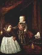 VELAZQUEZ, Diego Rodriguez de Silva y Prince Baltasar Carlos with a Dwarf r Spain oil painting reproduction