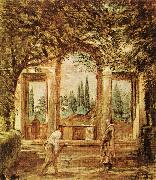 VELAZQUEZ, Diego Rodriguez de Silva y The Pavillion Ariadn in the Medici Gardens in Rome er oil painting picture wholesale