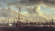 VELDE, Willem van de, the Younger The Gouden Leeuw before Amsterdam t oil painting picture wholesale