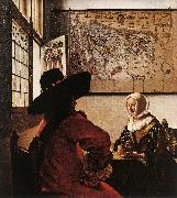 VERMEER VAN DELFT, Jan Officer with a Laughing Girl ar oil painting artist